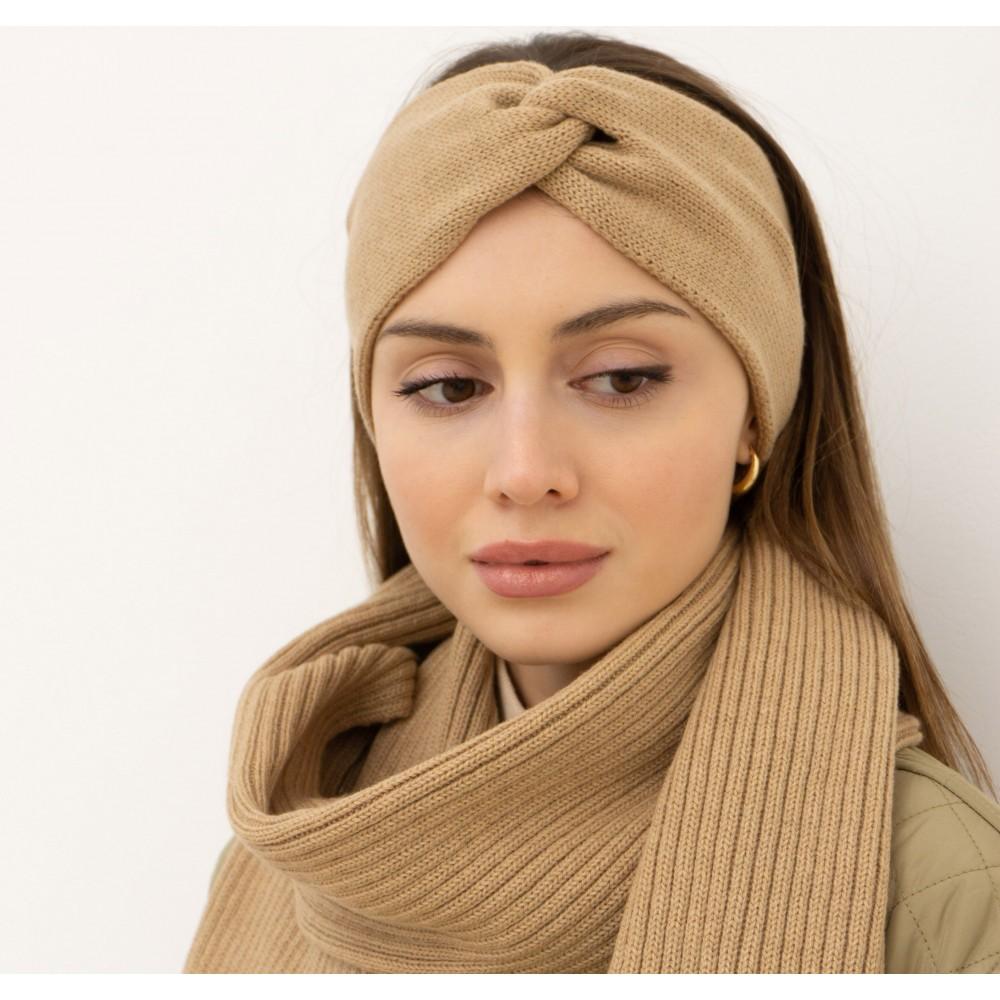 Beige set: scarf and headband, 100% merino wool