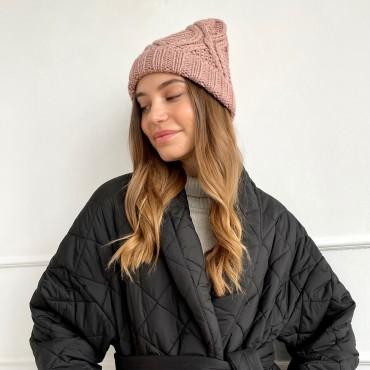HANDMADE hat, dusty rose, 100% merino wool