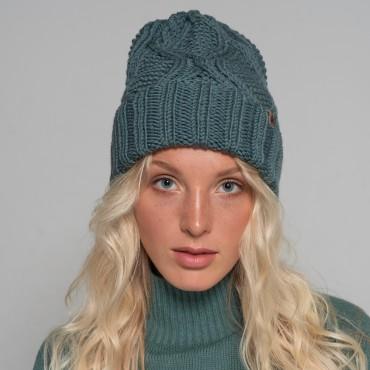 HANDMADE hat, grey-green, 100% merino wool