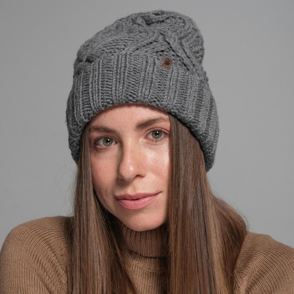 HANDMADE hat, grey, 100% merino wool