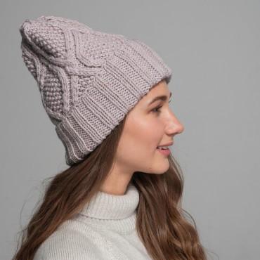 HANDMADE hat, beige, 100% merino wool