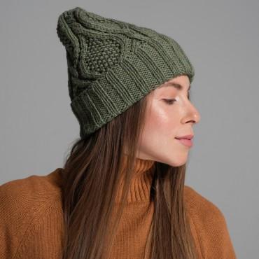 HANDMADE hat, olive, 100% merino wool