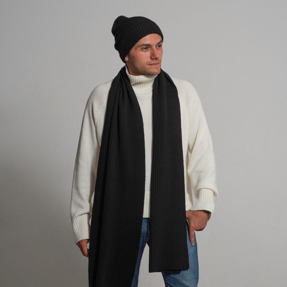 Black set hat, scarf, headband, 100% merino wool