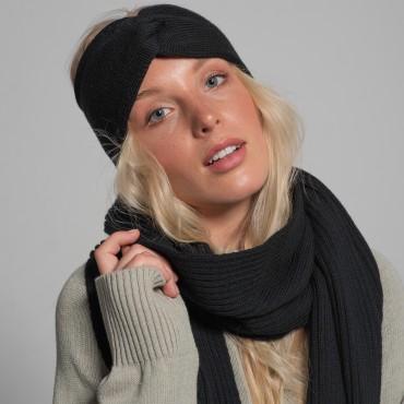 REVISE headband, black, 100% merino wool