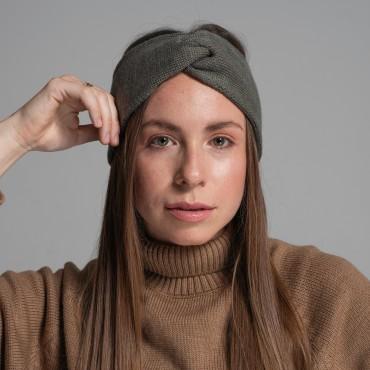 REVISE Headband, grey-green, 100% merino wool