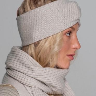 Grey set: scarf and headband, 100% merino wool