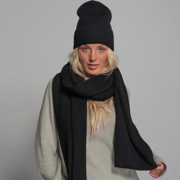 Merino scarf, black