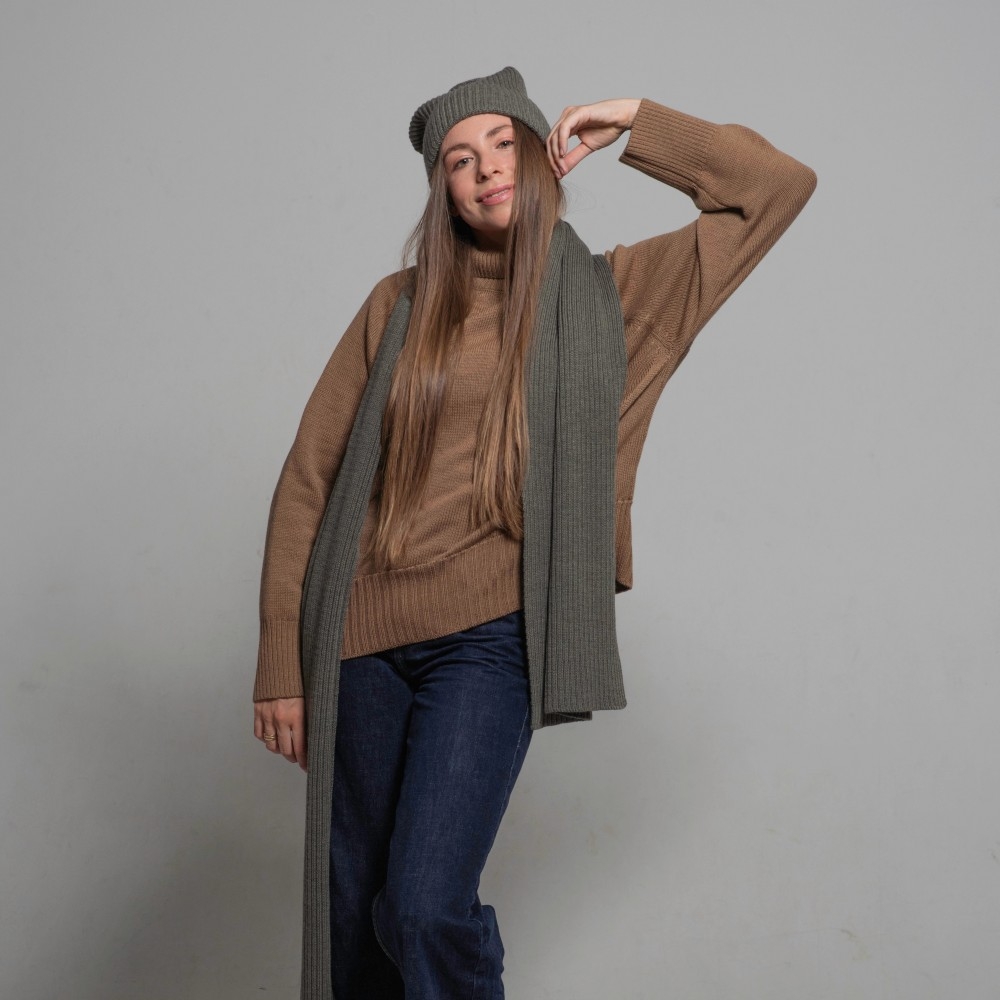 Merino scarf, grey-green