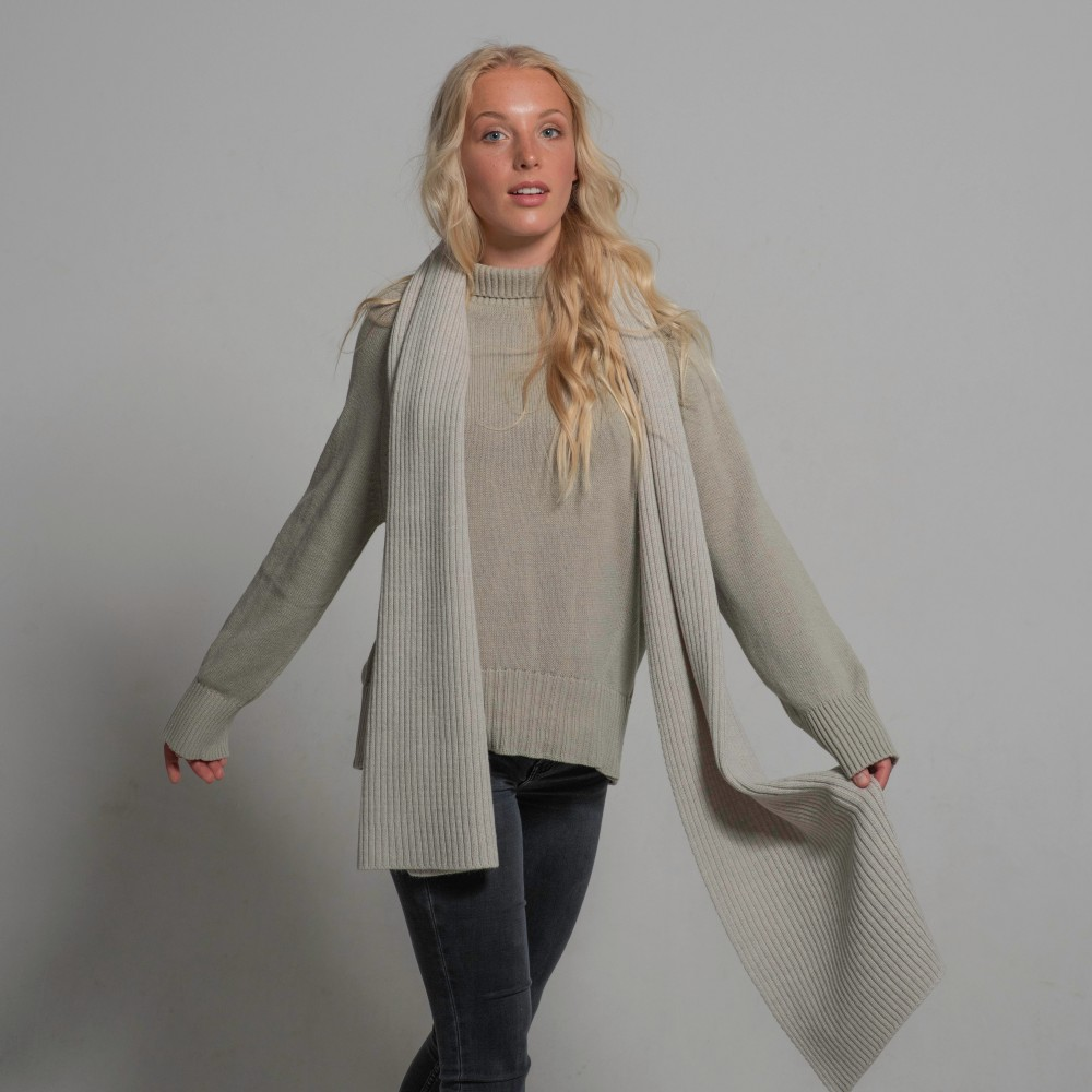 Merino scarf, light-grey