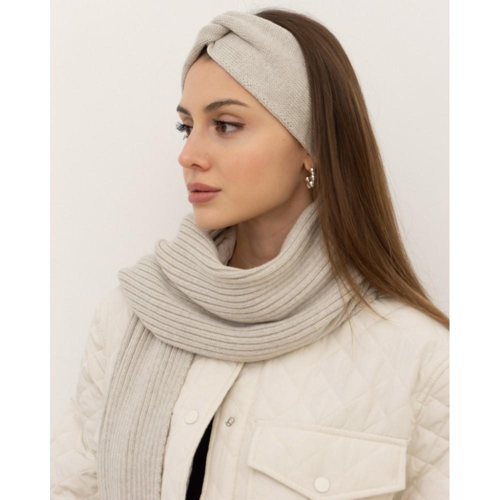 Light-grey set hat, scarf, headband, 100% merino wool