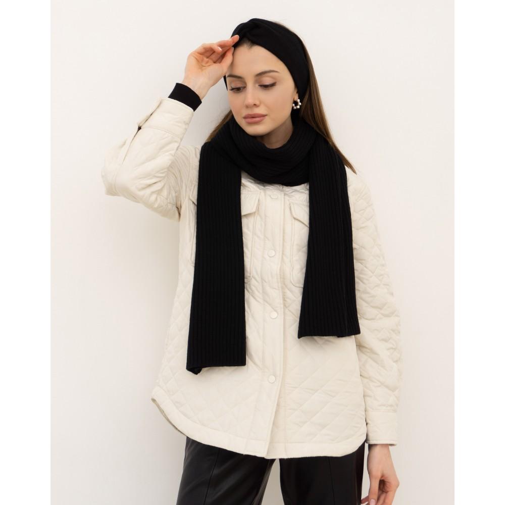 Black set: scarf and headband, 100% merino wool