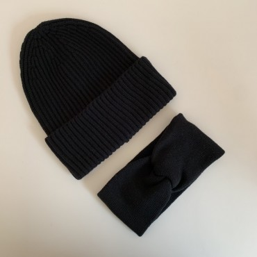 Black hat and headband merino wool set