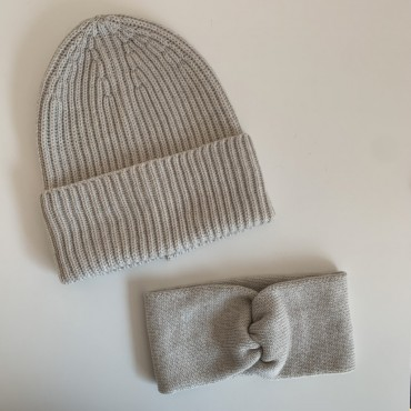 Light-grey hat and headband merino wool set