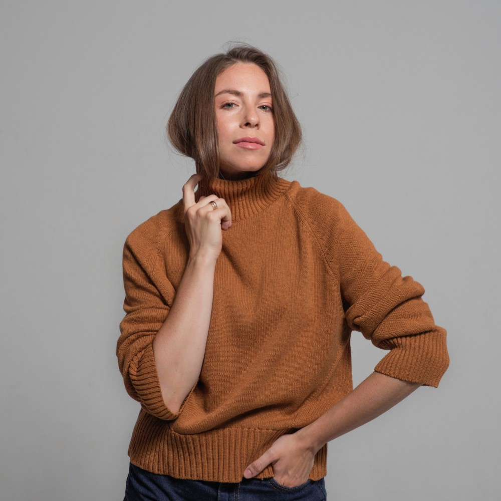 Cotton Sweater, dark-orange